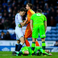 Norwich City's Tim Krul pushes Blackburn Rovers' Richie Smallwood back after a challenge on Todd Cantwell<br /> <br /> Photographer Alex Dodd/CameraSport<br /> <br /> The EFL Sky Bet Championship - Blackburn Rovers v Norwich City - Saturday 22nd December 2018 - Ewood Park - Blackburn<br /> <br /> World Copyright © 2018 CameraSport. All rights reserved. 43 Linden Ave. Countesthorpe. Leicester. England. LE8 5PG - Tel: +44 (0) 116 277 4147 - admin@camerasport.com - www.camerasport.com