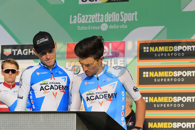 Israel Cycling Academy at sign on before the start of the 112th edition of Il Lombardia 2018, the final monument of the season running 241km from Bergamo to Como, Lombardy, Italy. 13th October 2018.<br /> Picture: Eoin Clarke | Cyclefile<br /> <br /> <br /> All photos usage must carry mandatory copyright credit (© Cyclefile | Eoin Clarke)