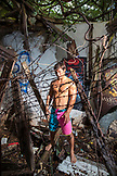 USA, Oahu, Hawaii, portrait of MMA Mixed Martial Arts Ultimate fighter Lowen Tynanes in an abandoned building on the North Shore of Oahu