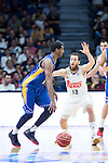 Real Madrid's Sergio Rodriguez and UCAM Murcia's Kelati during the first match of the playoff at Barclaycard Center in Madrid. May 27, 2016. (ALTERPHOTOS/BorjaB.Hojas)
