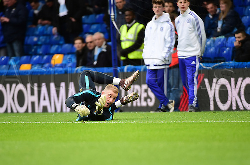 21.02.2016. Stamford Bridge, London, England. Emirates FA Cup 5th Round. Chelsea versus Manchester City. Manchester City's Joe Hart warms up in goal