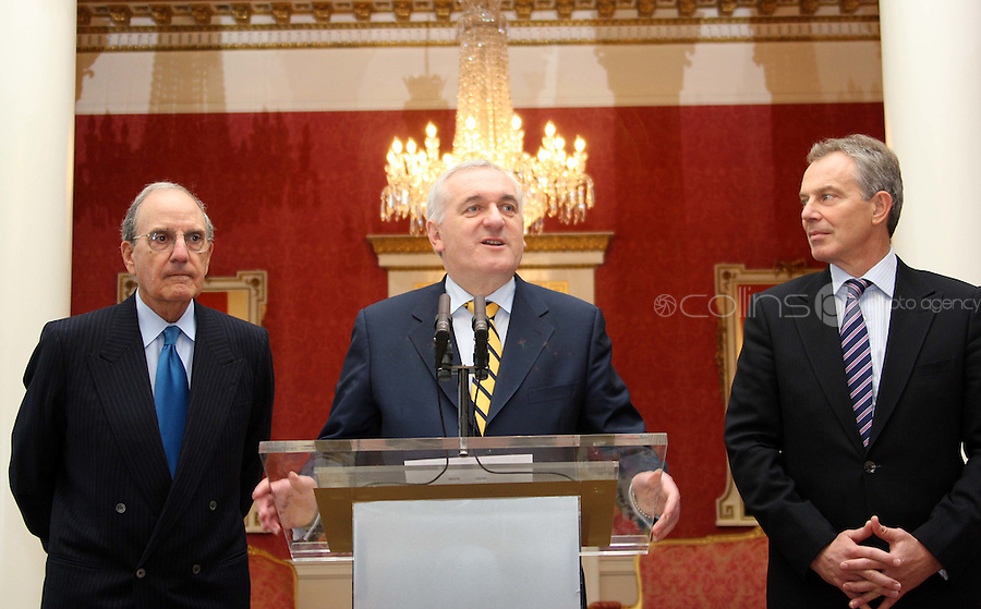 11/04/'08 Taoiseach Bertie Ahern pictured with former British Prime Minister, Tony Blair and George Mitchell at Dublin Castle this evening to mark the 10th Anniversary of the Good Friday Agreement. The event was organised by the 'Turn the Tide on Suicide' charity. ....Picture Collins, Dublin, Colin Keegan.