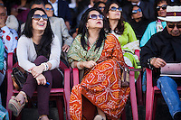 Spectators watch the game, from the upper pavilion, between the Royal Jaipur Polo Team and the Western Australia Polo Team for the Argyle Pink Diamond Cup, organised as part of the 2013 Oz Fest in the Rajasthan Polo Club grounds in Jaipur, Rajasthan, India on 10th January 2013. Photo by Suzanne Lee