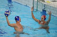 WATERPOLO: HEERENVEEN: Sportopol Sportstad Heerenveen, 27-09-2012, SGHA Heren 1, Philip van der Poel (blauwe cap), Hongaarse keeper Dániel Csuta (rode cap), ©foto Martin de Jong
