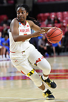 College Park, MD - March 25, 2019: Maryland Terrapins guard Channise Lewis (3) makes a move to the basket during second round game of NCAAW Tournament between UCLA and Maryland at Xfinity Center in College Park, MD. UCLA advanced to the Sweet 16 defeating Maryland 85-80.(Photo by Phil Peters/Media Images International)
