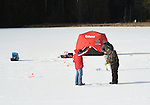 Ice fishermen on Rose Valley Lake, Lycoming County, PA.