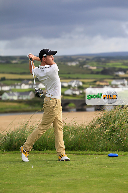 Jonathon Grace (Bath GC) on the 9th tee during Round 2 of The South of Ireland in Lahinch Golf Club on Sunday 27th July 2014.<br /> Picture:  Thos Caffrey / www.golffile.ie