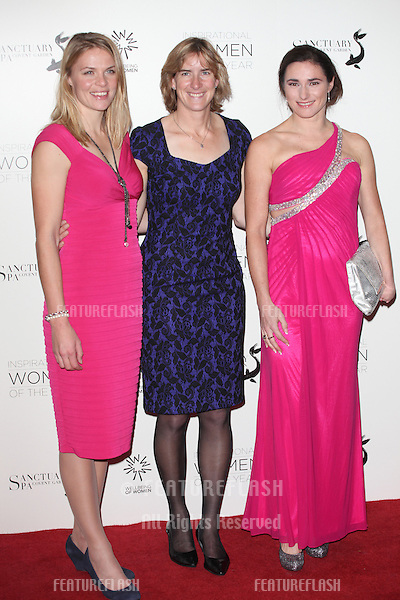 Anna Watkins, Katherine Granger and Sarah Storey arriving for the Daily Mail Inspirational Women of the Year Awards in support of Wellbeing of Women held at the Marriott Hotel, London. 12/11/2012 Picture by: Alexandra Glen / Featureflash