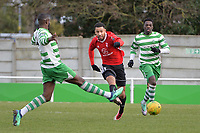 Kensley Maloney of Bracknell Town shoots wide during Waltham Abbey vs Bracknell Town, Bostik League South Central Division Football at Capershotts on 9th February 2019