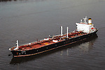 Aerial view of Athos I Tanker in Delaware River