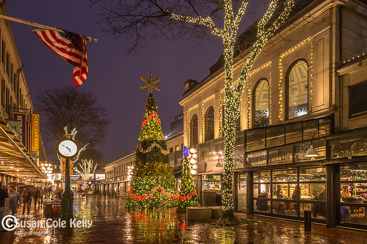A rainy holiday evening at Quincy Market, Boston, Massachusetts, USA
