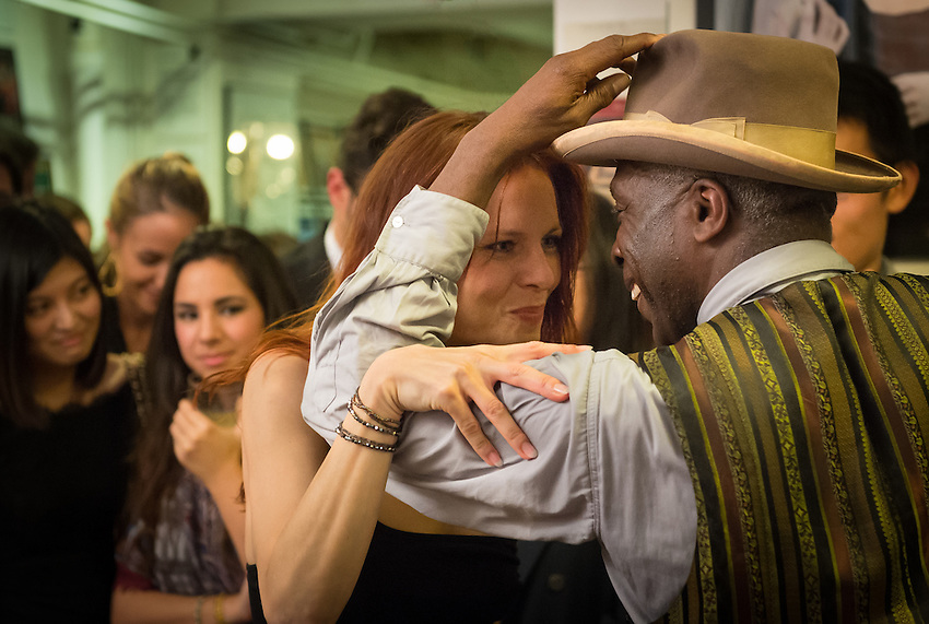 Mona Barocco (former dancer at the Crazy Horse) and Philou (tap-dancer) at a Paris Boogie Speakeasy soirée hosted by Yves Riquet at 256 Rue Marcadet for HEC with the Metropolitan Jazz Band and five young ex dancers from the Crazy Horse plus tap-dancer Philou. Friday 5th December 2014.