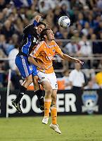 Nick Garcia (3) goes up for the header against Dynamo's Nate Jaqua (27).San Jose Earthquakes tied Houston Dynamo 1-1 at Buck Shaw Stadium in Santa Clara, California. September 13, 2008.