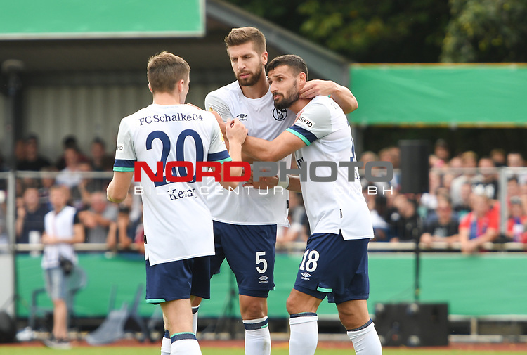 10.08.2019,  GER; DFB Pokal, SV Drochtersen/Assel vs FC Schalke 04 ,DFL REGULATIONS PROHIBIT ANY USE OF PHOTOGRAPHS AS IMAGE SEQUENCES AND/OR QUASI-VIDEO, im Bild Steven Skrzybski (Schalke #22) schiesst das Tor zum 1-0 und jubelt Foto © nordphoto / Witke *** Local Caption ***