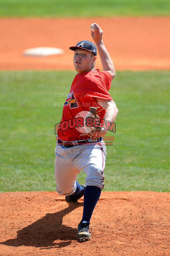 Atlanta Braves pitcher Patrick Scoggin #58 during a minor league Spring Training game against the Philadelphia Phillies at Al Lang Field on March 14, 2013 in St. Petersburg, Florida.  (Mike Janes/Four Seam Images)