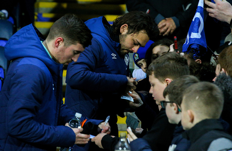 Blackburn Rovers' Bradley Dack signs autographs before taking his place on the bench<br /> <br /> Photographer Alex Dodd/CameraSport<br /> <br /> Emirates FA Cup Third Round Replay - Blackburn Rovers v Newcastle United - Tuesday 15th January 2019 - Ewood Park - Blackburn<br />  <br /> World Copyright &copy; 2019 CameraSport. All rights reserved. 43 Linden Ave. Countesthorpe. Leicester. England. LE8 5PG - Tel: +44 (0) 116 277 4147 - admin@camerasport.com - www.camerasport.com