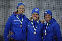 SCHAATSEN: GRONINGEN: Sportcentrum Kardinge, 03-02-2013, Seizoen 2012-2013, Gruno Bokaal, podium 1500m Heren, Maurice Vriend, Koen Verweij, Renz Rotteveel, ©foto Martin de Jong