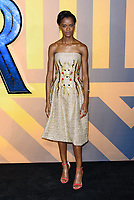 LONDON, ENGLAND - FEBRUARY 8: Letitia Wright arrives at the 'Black Panther' European premiere at the Eventim Apollo, on February 8th, 2018 in London, England. <br /> CAP/JC<br /> &copy;JC/Capital Pictures