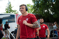Jason Woodward and the rest of the Gloucester Rugby team arrive at Allianz Park. Gallagher Premiership Semi Final, between Saracens and Gloucester Rugby on May 25, 2019 at Allianz Park in London, England. Photo by: Patrick Khachfe / JMP