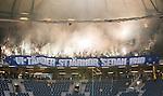 Solna 2015-10-04 Fotboll Allsvenskan AIK - Malm&ouml; FF :  <br /> Malm&ouml;s supportrar med banderoll med texten &quot; Vi t&auml;nder stj&auml;rnor sedan 1910 &quot; och med bengaler under matchen mellan AIK och Malm&ouml; FF <br /> (Foto: Kenta J&ouml;nsson) Nyckelord:  AIK Gnaget Friends Arena Allsvenskan Malm&ouml; MFF supporter fans publik supporters