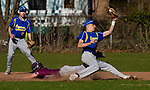 SEYMOUR,  CT-041019JS14-  Naugatuck's Mike Patton (7) steals second base after the throw to Seymour's John Chacho (7) was off the mark during their game Wednesday at French Memorial Park in Seymour. Backing up the play is Seymour's Jake Chacho  (9) <br /> Jim Shannon Republican American