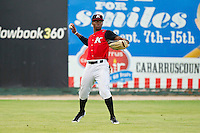 Kannapolis Intimidators left fielder Tillman Pugh #9 throws the ball back to the infield during the South Atlantic League game against the Greensboro Grasshoppers at CMC-Northeast Stadium on June 12, 2012 in Kannapolis, North Carolina.  The Intimidators defeated the Grasshoppers 2-1.  (Brian Westerholt/Four Seam Images)