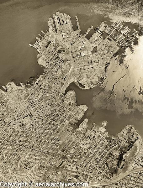 historical aerial photograph Hunter's Point, Bayview, San Francisco, California, 1956