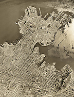 historical aerial photograph Hunter's Point, Bayview, San Francisco, California, 1956