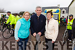 Pictured at the start of the John O'Shea Memorial Cycle in Dromid on Sunday where over 200 cyclists took part, and all funds raised go to 'The Irish Pilgrimage Trust Group 135', who take children with special needs to Lourdes at Easter, pictured here l-rl Cllr. Norma Moriarty, Mick O'Dwyer & Joan O'Shea.