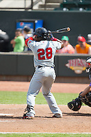Franklin Guzman (28) of the Salem Red Sox at bat against the Winston-Salem Dash at BB&T Ballpark on May 31, 2015 in Winston-Salem, North Carolina.  The Red Sox defeated the Dash 6-5.  (Brian Westerholt/Four Seam Images)