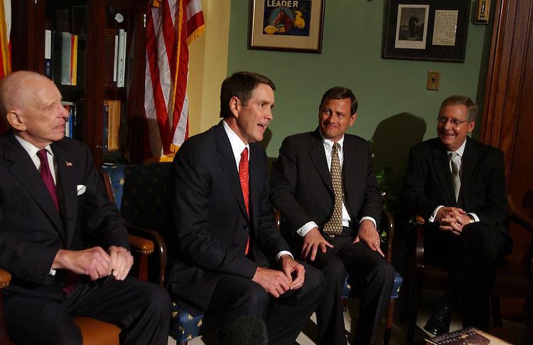 From left, Sen. Arlen Specter, R-Pa., Senate Majority Leader Bill Frist, R-Tenn., Supreme Court justice nominee, John Roberts, and Sen. Mitch McConnell, R-Ky., attend meeting with the press, in which they all made brief remarks.