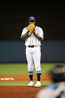 Charlotte Stone Crabs relief pitcher Reimin Ramos (41) during a game against the Dunedin Blue Jays on June 5, 2018 at Charlotte Sports Park in Port Charlotte, Florida.  Dunedin defeated Charlotte 9-5.  (Mike Janes/Four Seam Images)