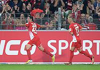 Fussball  1. Bundesliga  Saison 2013/2014  4. Spieltag SC Freiburg - FC Bayern Muenchen        27.08.2013 JUBEL SC Freiburg; Torschuetze zum 1-1 Ausgleich Nicolas Hoefler (li) und Jonathan Schmid