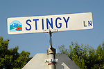 Stingy Lane street sign, Anderson, Calif.