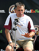 Ashburn, VA - July 20, 2008 -- Head Coach Jim Zorn answers a reporter's question as he meets the media following the first morning practice at the 2008 Washington Redskins training camp at Redskins Park in Ashburn Virginia on Sunday, July 20, 2008..Credit: Ron Sachs / CNP