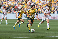 9th November 2019; Bankwest Stadium, Parramatta, New South Wales, Australia; International Womens Friendly Football, Australia versus Chile; Sam Kerr of Australia runs at the Chile defence - Editorial Use