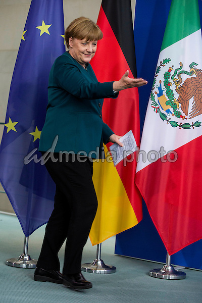 12 April 2016 - Berlin, Germany - Press conference of Chancellor Angela Merkel with Mexican President Enrique Pena Nieto at the Federal Chancellery in Berlin. Mexico and Germany agree to strengthen ties in terms of safety. The visit of the Mexican President in Berlin is accompanied by protests of human rights activists. Photo Credit: Stocki/face to face/AdMedia