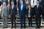 Spain´s King Juan Carlos I in the Presidency of the Council of Ministers. In the picture from left to right, the Foreign Minister - Jose Manuel Garcia Margallo, The Prime Minister Mr. Mariano Rajoy, Spain´s King Juan Carlos I, The Senior Vice President and Government Spokesman and Minister of Presidency - Soraya Saenz de Santamaria and The Minister of Justice - Alberto Ruiz Gallardón.  July 13, 2012. (ALTERPHOTOS/Ricky)