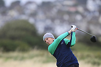 Ronan Mullarney from Ireland on the 5th tee during Round 3 Foursomes of the Men's Home Internationals 2018 at Conwy Golf Club, Conwy, Wales on Friday 14th September 2018.<br /> Picture: Thos Caffrey / Golffile<br /> <br /> All photo usage must carry mandatory copyright credit (&copy; Golffile | Thos Caffrey)