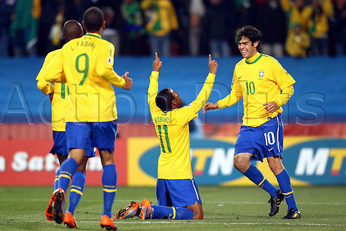 Robinho (BRA), JUNE 28, 2010 - Football : Robinho of Brazil celebrates his goal with Kaka during the 2010 FIFA World Cup South Africa Round of Sixteen match between Brazil 3-0 Chile at Ellis Park Stadium in Johannesburg, South Africa.