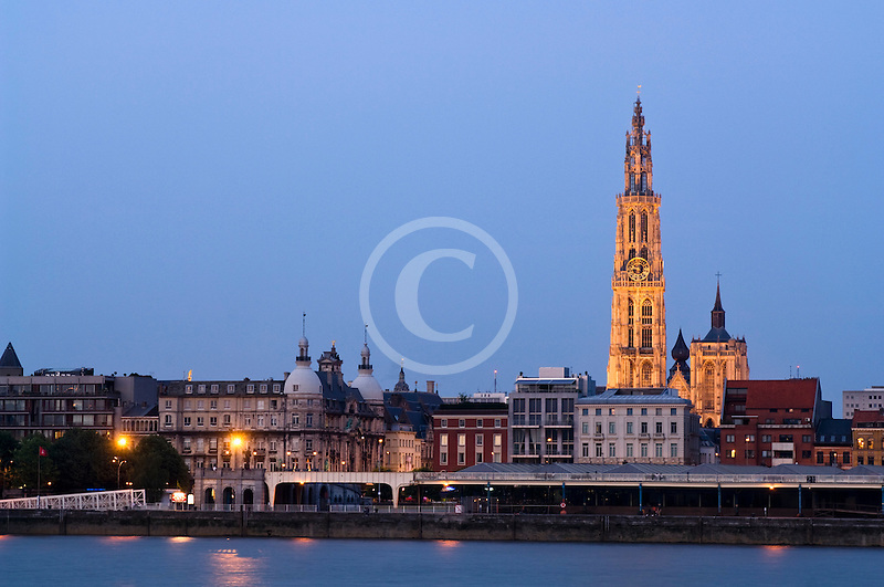 Belgium, Antwerp, Cathedral of Our Lady, Onze Lieve Vrouwekathedraal, and riverfront