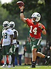 Ryan Fitzpatrick #14, New York Jets quarterback, throws a pass during team training camp at Atlantic Health Jets Training Center in Florham Park, NJ on Friday, July 29, 2016.