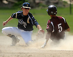 (060615 Bridgewater) West Bridgewater 5, Jared Sharkey is out trying to steal second, as Williams 3, Cam Powers, applies the tag, in the fourth inning of the game, Saturday, June 6, 2015, in Bridgewater. Herald Photo by Jim Michaud