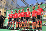 Trek-Segaferdo at sign on before the start of the 112th edition of Il Lombardia 2018, the final monument of the season running 241km from Bergamo to Como, Lombardy, Italy. 13th October 2018.<br /> Picture: Eoin Clarke | Cyclefile<br /> <br /> <br /> All photos usage must carry mandatory copyright credit (© Cyclefile | Eoin Clarke)