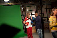 INDIANAPOLIS, IN - APRIL 1, 2011: Jeanette Pohlen prepares for an on camera taping at Conseco Fieldhouse during the NCAA Final Four in Indianapolis, IN on April 1, 2011.