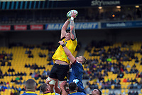 Scott Scrafton takes lineout ball during the Super Rugby Aotearoa match between the Hurricanes and Highlanders at Sky Stadium in Wellington, New Zealand on Sunday, 12 July 2020. Photo: Dave Lintott / lintottphoto.co.nz