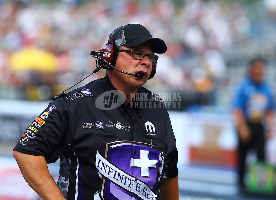 Jun 21, 2015; Bristol, TN, USA; Crew chief Jimmy Prock for NHRA funny car driver Jack Beckman during the Thunder Valley Nationals at Bristol Dragway. Mandatory Credit: Mark J. Rebilas-