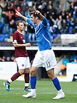 St Johnstone v Hearts...25.09.11   SPL Week 9.Cillian Sheridan celebrates his first goal.Picture by Graeme Hart..Copyright Perthshire Picture Agency.Tel: 01738 623350  Mobile: 07990 594431