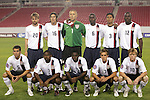 13 March 2008: United States starting eleven.  Front row (l to r): Nathan Sturgis (USA) (5), Marvell Wynne (USA) (2), Freddy Adu (USA) (11), Stuart Holden (USA) (7), Dax McCarty (USA) (10).  Back row (l to r): Eddie Gaven (USA) (20), Sacha Kljestan (USA) (16), Chris Seitz (USA) (1), Maurice Edu (USA) (6), Michael Orozco (USA) (3), Jozy Altidore (USA) (12). The United States U-23 Men's National Team defeated the Panama U-23 Men's National Team 1-0 at Raymond James Stadium in Tampa, FL in a Group A game during the 2008 CONCACAF's Men's Olympic Qualifying Tournament.