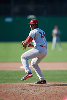 Auburn Doubledays relief pitcher Joan Adon (24) delivers a pitch during a game against the Batavia Muckdogs on September 2, 2018 at Dwyer Stadium in Batavia, New York.  Batavia defeated Auburn 5-4.  (Mike Janes/Four Seam Images)